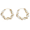 4mm Strand Pearl Hoop Earrings Solid 14k Yellow Gold 4.6g Leverback 27mm