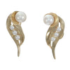 7mm Cultured Pearl Long Clip Earrings Solid 14k Yellow Gold 8.4g