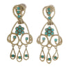 Turquoise Cluster Floral Drop Dangle Earrings Solid 14k Yellow Gold 11.7g