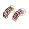 5.76ctw Pink Tourmaline Baguette Cut Hoop Earrings Solid 14k Yellow Gold 7.3g