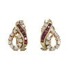 1.08ctw Baguette Ruby Diamond Cluster Earrings Solid 14k Yellow Gold 8.1g