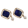Lapis Lazuli Diamond Pearl Drop Dangle Earrings Solid 14k Yellow Gold Wide Cushion