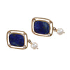Lapis Lazuli Diamond Pearl Drop Dangle Earrings Solid 14k Yellow Gold Wide Cushi