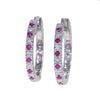 1.16CTW Ruby Diamond 3mm Hoop Earrings 14k White Gold Womens Estate 6.3g