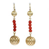 Red Coroal Diamond Ball Drop Dangle Earrings 18k Yellow Gold Womens Estate 7.5g