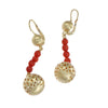 Red Coroal Ball Drop Dangle Earrings Solid 18k Yellow Gold Womens Estate 7.5g