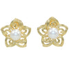 Mikimoto Plumeria Flower Akoya Culture Pearl Clip Earrings 18k Yellow Gold 19mm