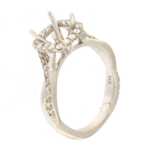 White Gold Cathedral Style Engagement Ring Setting with Cushion Halo & Twisted Band