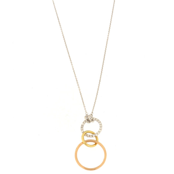 Three-toned Interlocking Circle Necklace