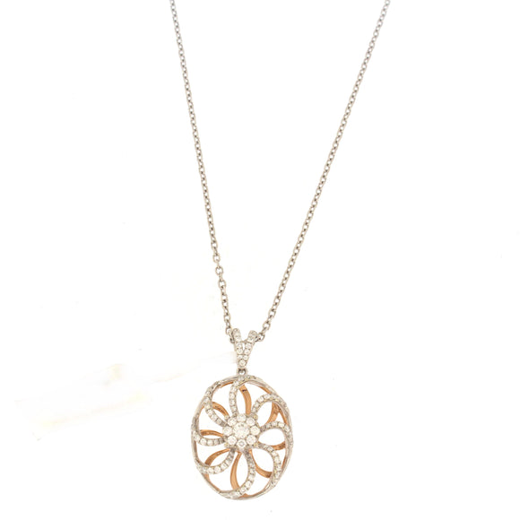 Two-tone Round Flower Diamond Necklace