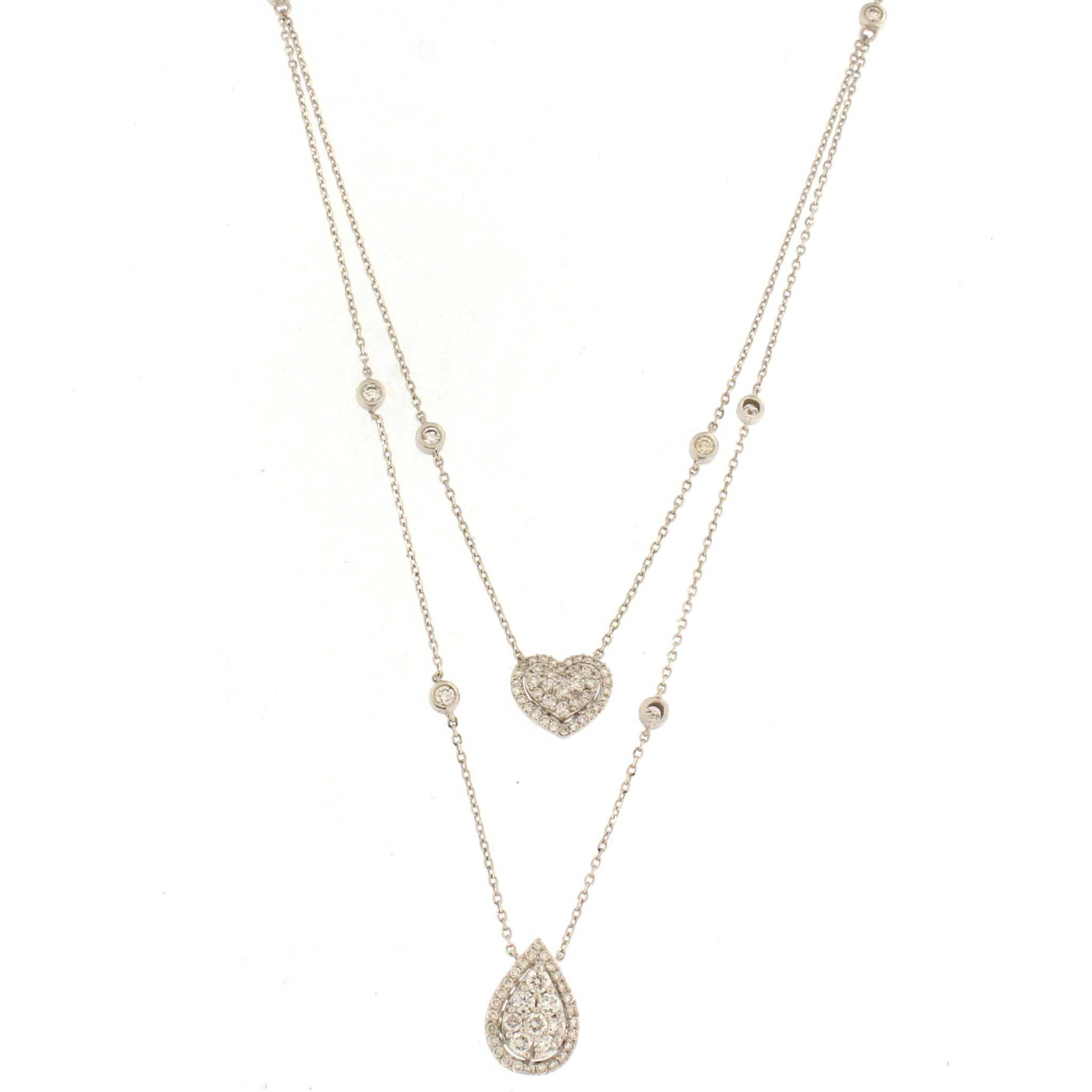 pear dpw shape white gold diamond pendant necklaces fine