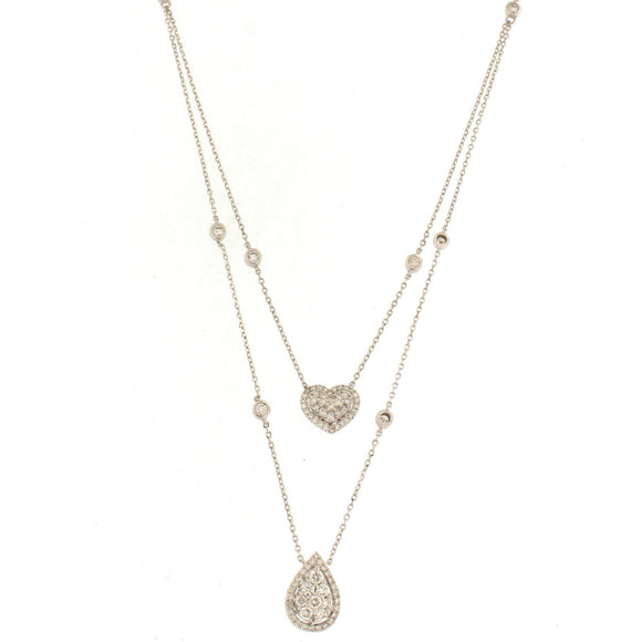 Layered Heart and Pear Diamond Pendant