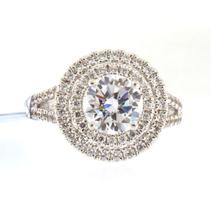 Diamond Double Halo Engagement Ring Setting with Split Shank