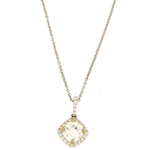 Round Diamond Pendant Necklace in Cushion Halo (1.11 CTW)