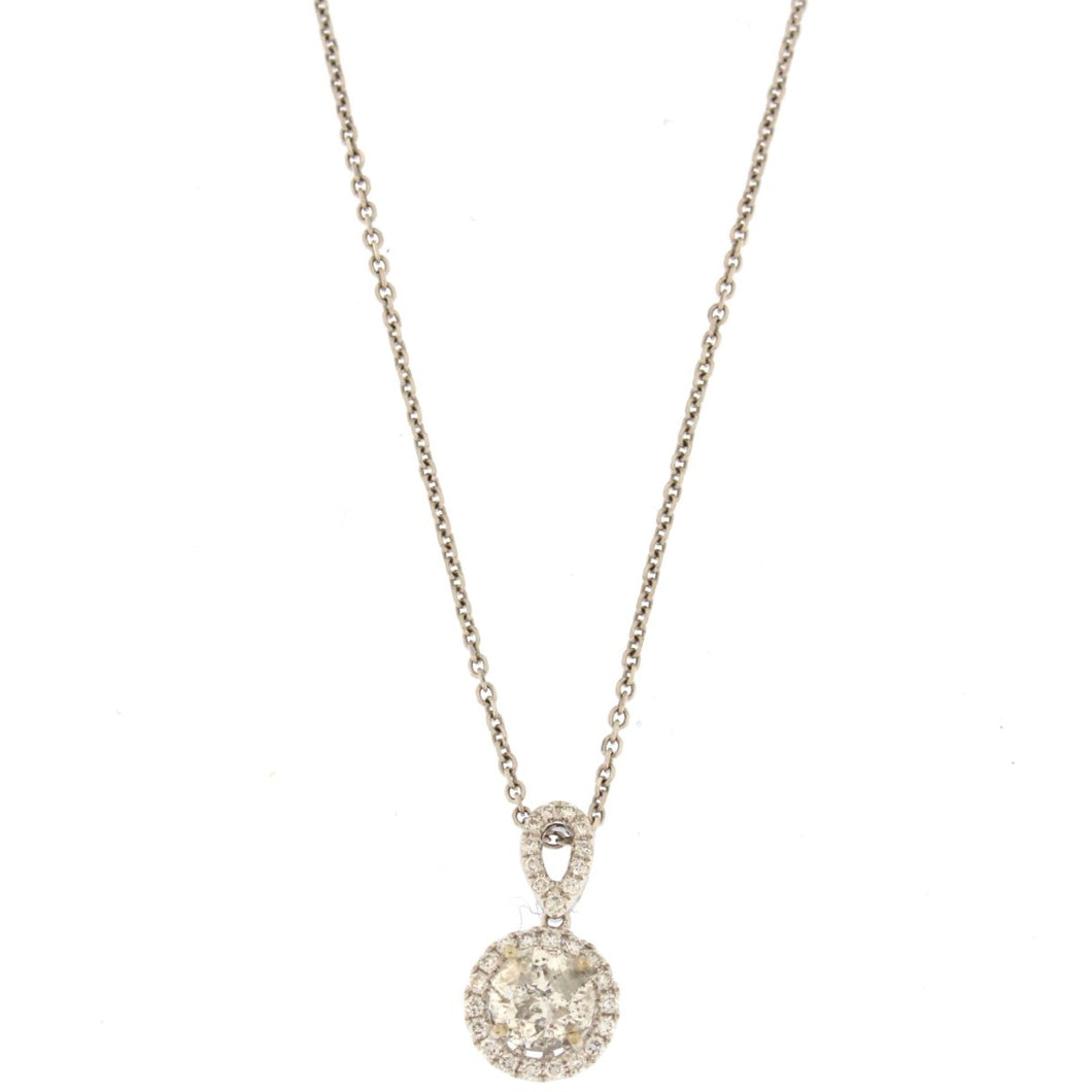 Round Diamond Halo Necklace Pendant (.9 CTW)