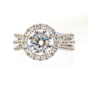 Triple Diamond Band Halo Engagement Ring Setting
