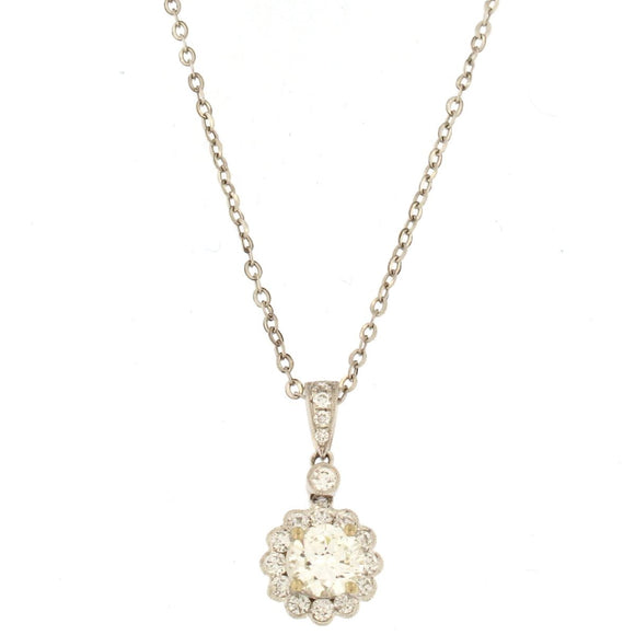 Flower Halo Diamond Pendant Necklace