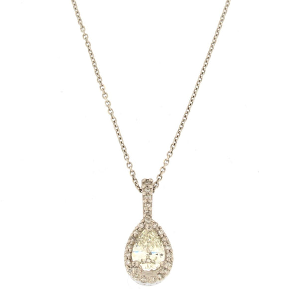 Pear Diamond Halo Pendant Necklace (1 CTW)