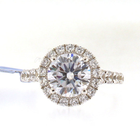 Diamond Halo Engagement Ring Setting with Diamond Shank