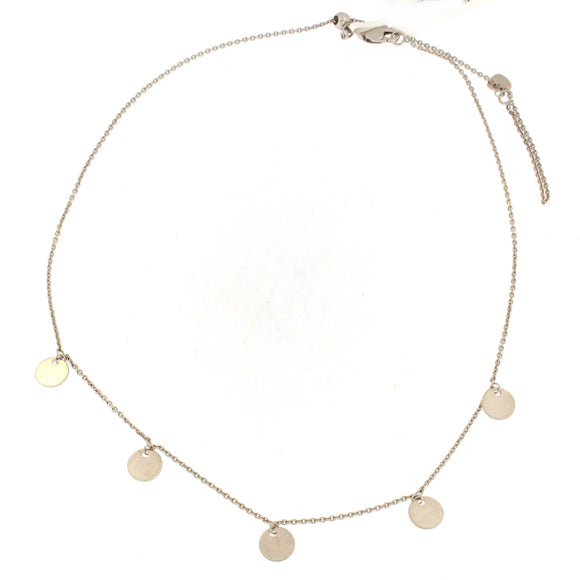 White Gold Drop Circles Choker