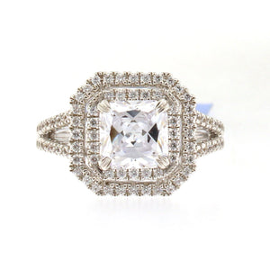 Double Halo Diamond Engagement Ring Setting with Split Shank