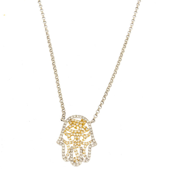 Multi-tone Gold Diamond Hamsa Hand Necklace