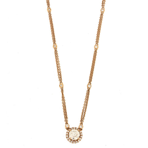 Rose Gold Round Diamond Pendant Necklace