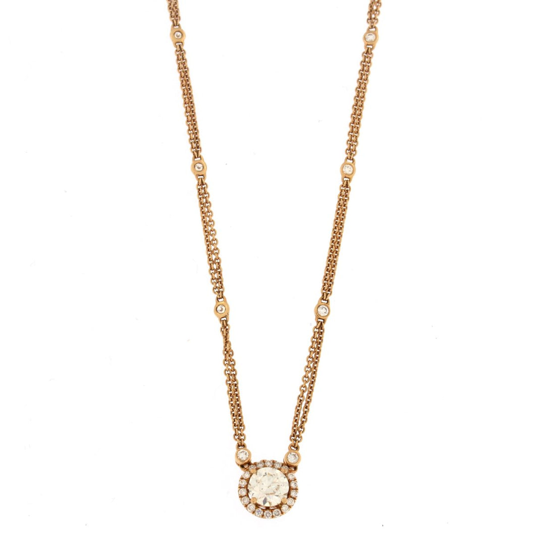 Rose gold round diamond pendant necklace the jewelry gallery of rose gold round diamond pendant necklace mozeypictures Image collections
