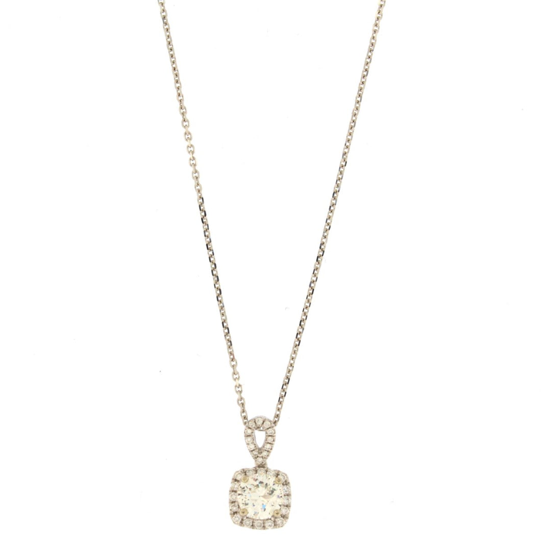 Round Diamond Pendant Necklace in Cushion Halo (1 CTW)