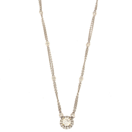 Round Diamond Halo Pendant Necklace (1 CTW)