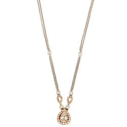 Pear Diamond Halo Multi-tone Gold Pendant Necklace