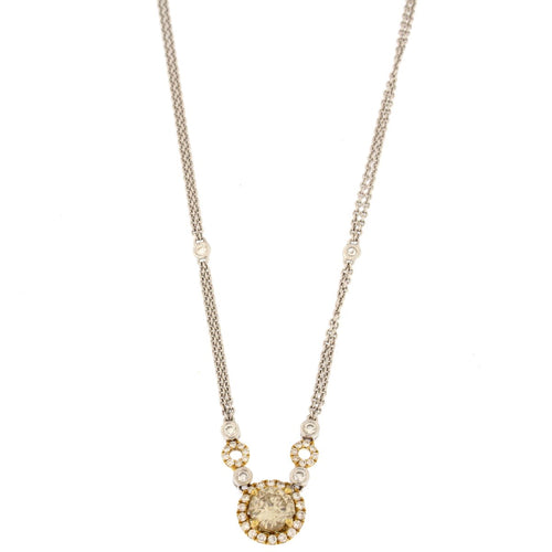 Round Diamond Halo Multi-tone Gold Pendant Necklace