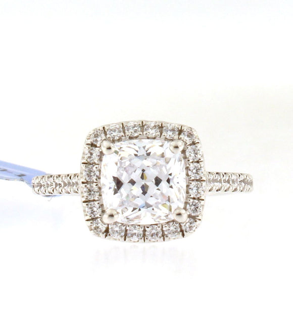 Thin Diamond Band and Halo Engagement Ring Setting