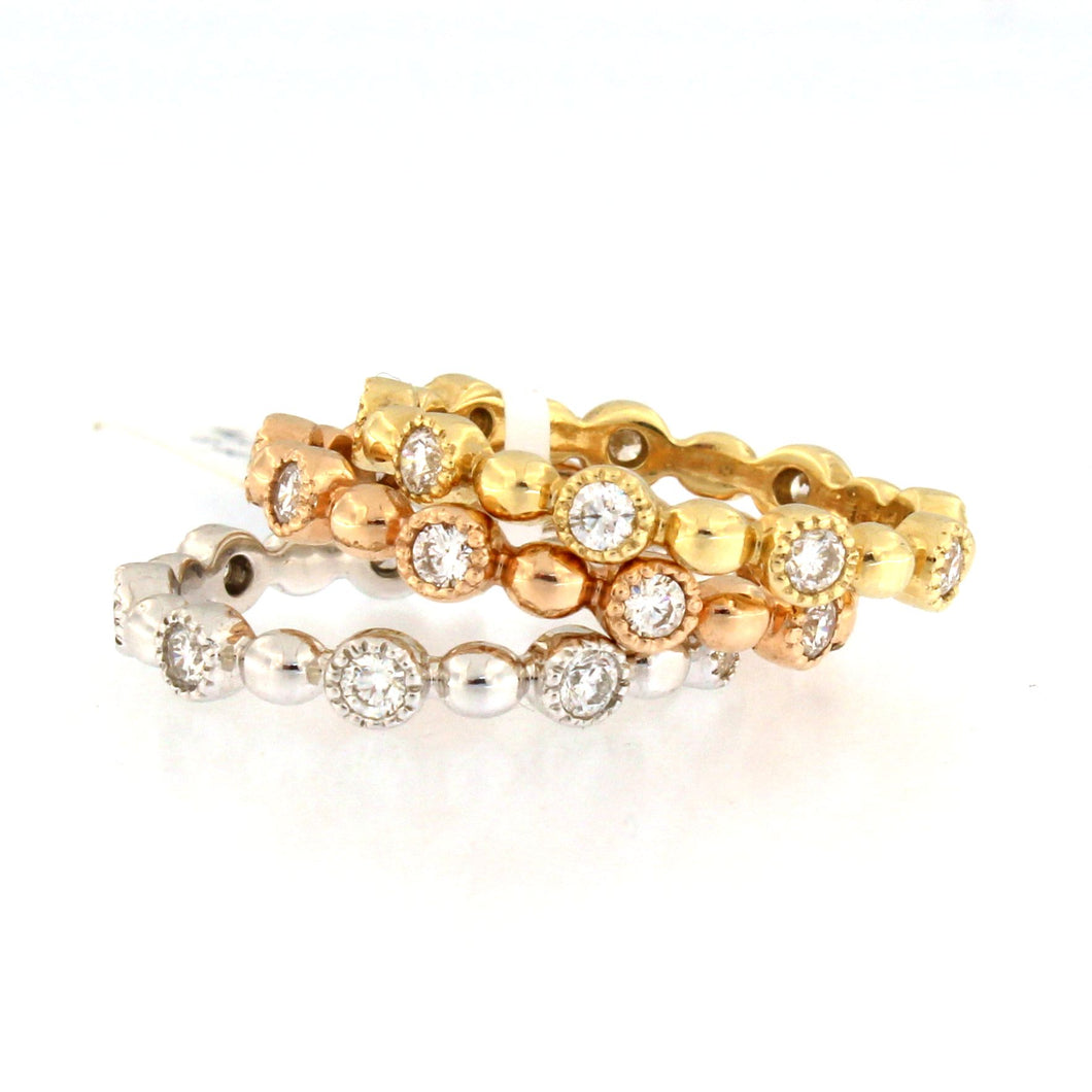 Set of 3 Diamond Bead Rings