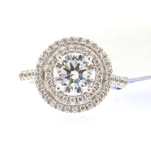 Double Halo Engagement Ring Setting with Diamond Band