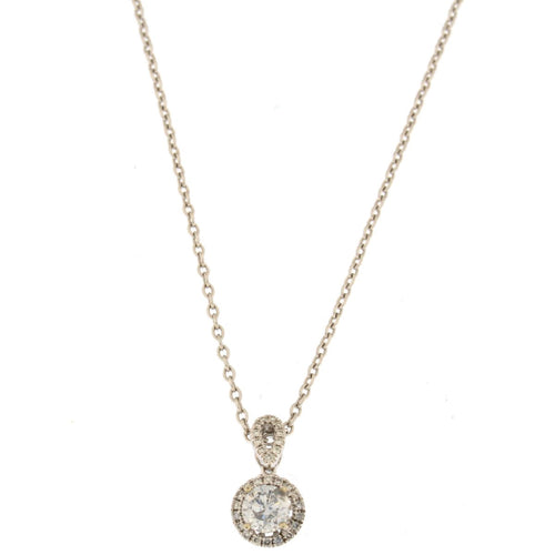 Round Diamond Halo Pendant Necklace (.65 CTW)