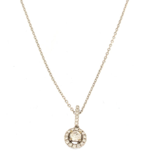 Round Diamond Halo Pendant Necklace (.35 CTW)