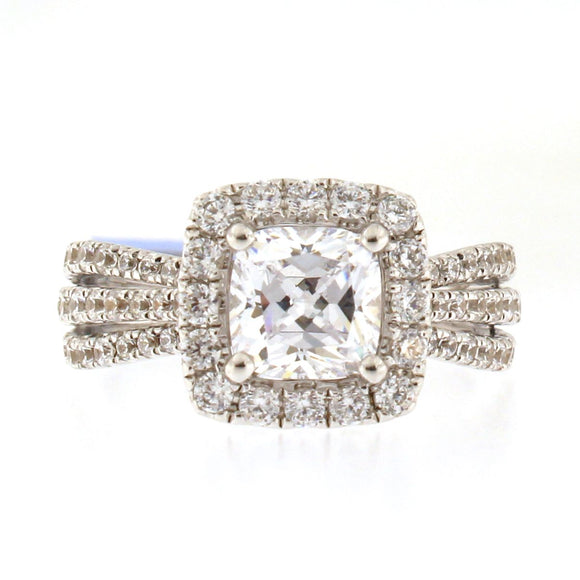 Diamond Halo Triple Band Engagement Ring Setting