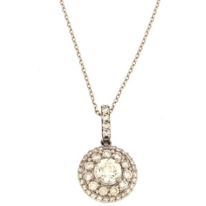 Double Halo Round Pendant Necklace