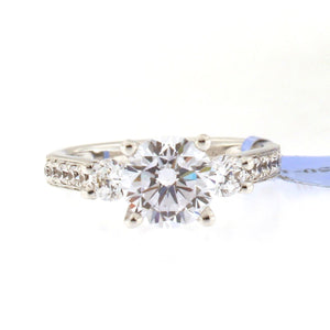 Past Present Future Engagement Ring Setting with Diamond Band