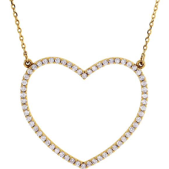 Large Open Heart Diamond Necklace