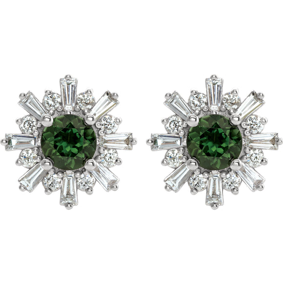 Green Tourmaline & Diamond Stud Earrings