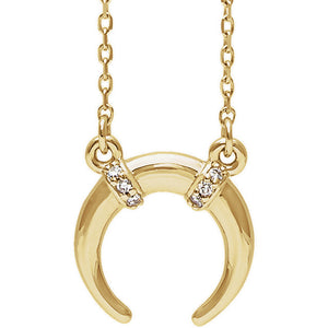 Gold Round Horn Necklace with Diamonds