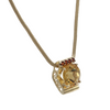 4.28CTW Citrine Spessartite Garnet Pendant 14k Gold Snake Chain Link Necklace