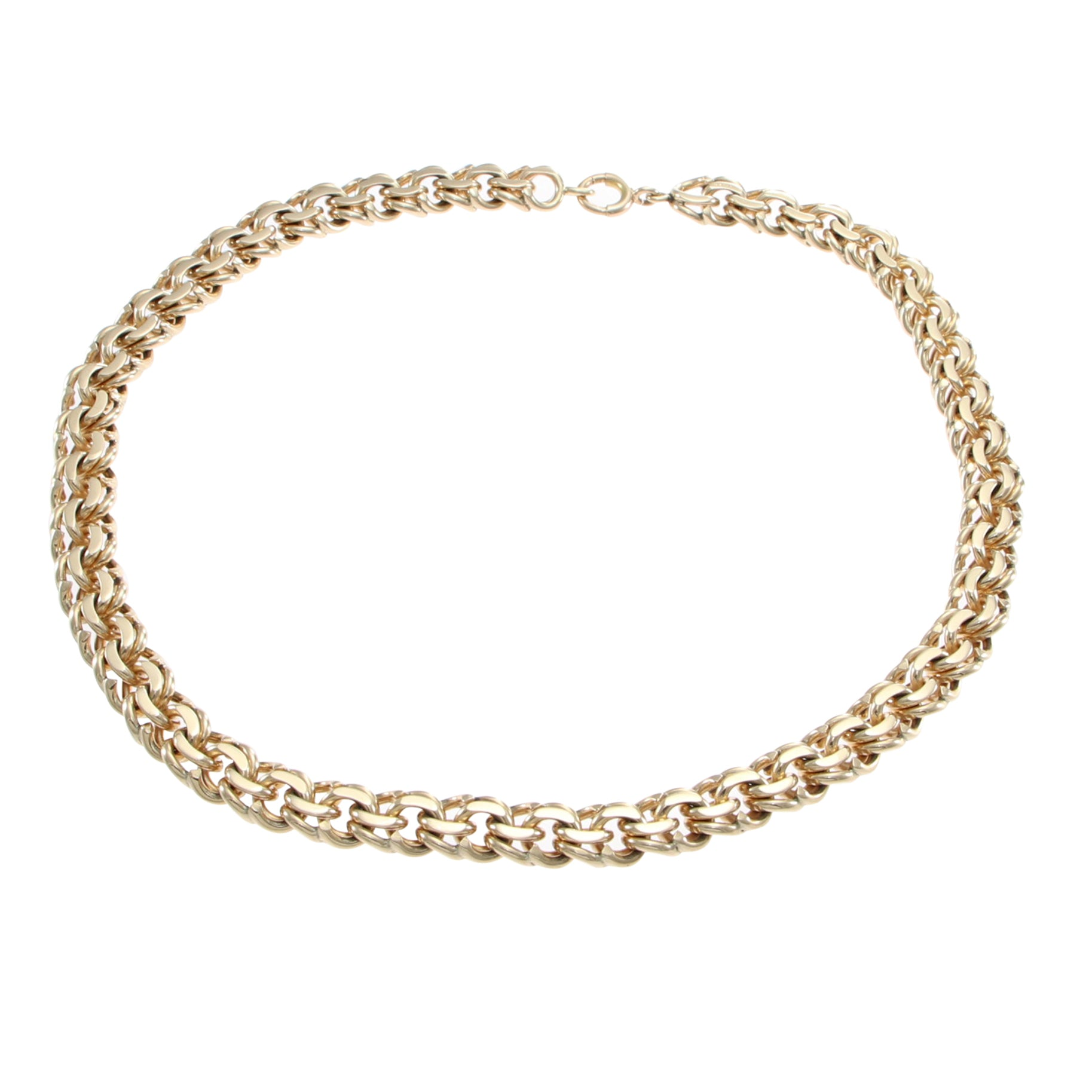 Tiffany Co Double Curb Chain Link Choker Necklace 14k Gold 9mm Wide The Jewelry Gallery Of Oyster Bay