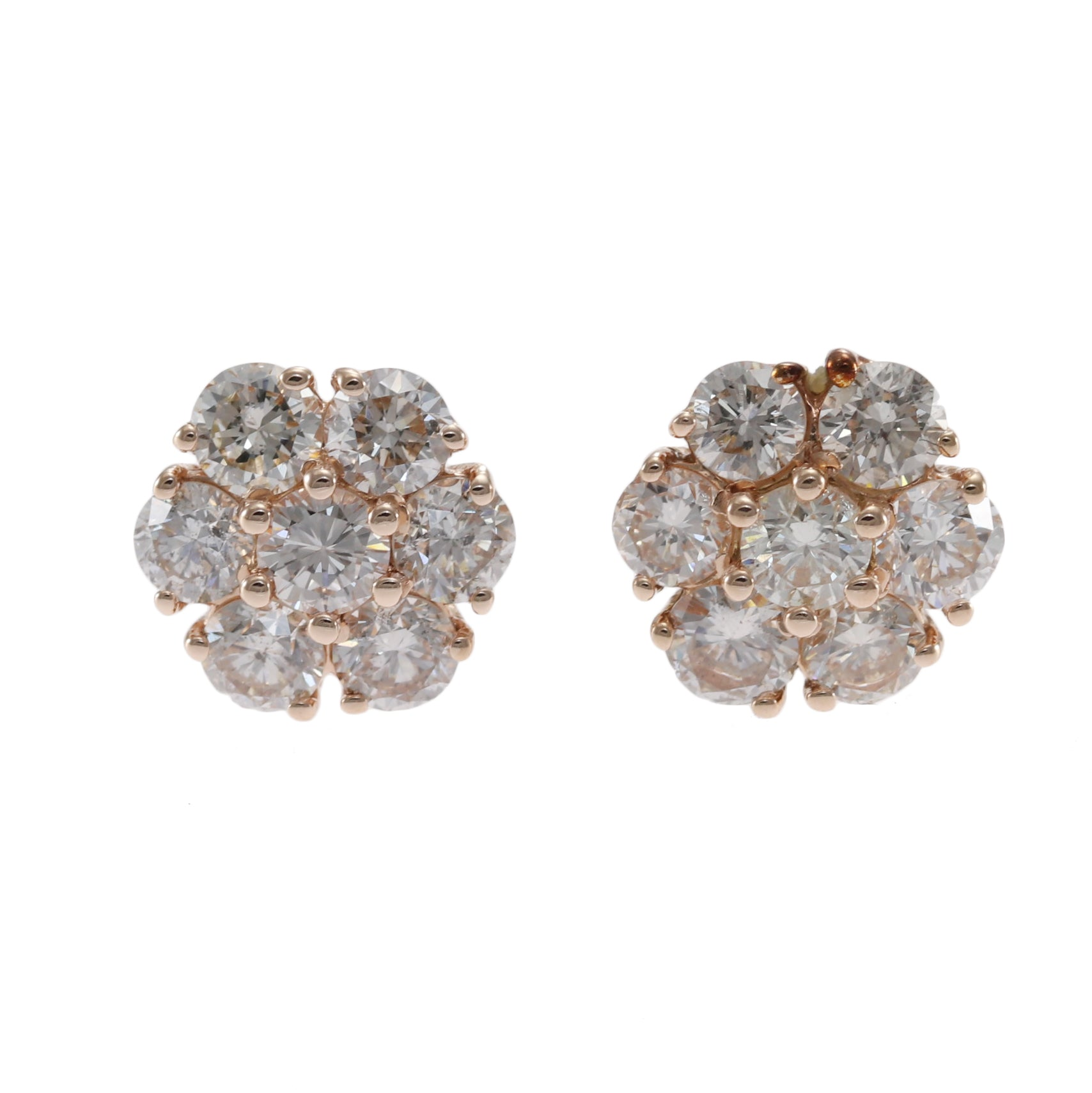 1 20ctw Round Diamond Flower Stud Cluster Earrings 14k Rose Gold Butte The Jewelry Gallery Of Oyster Bay