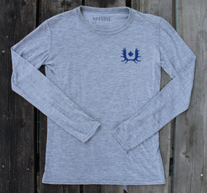Ladies Bamboo Long Sleeve T-Shirt w/ Crossed Skis Back Print