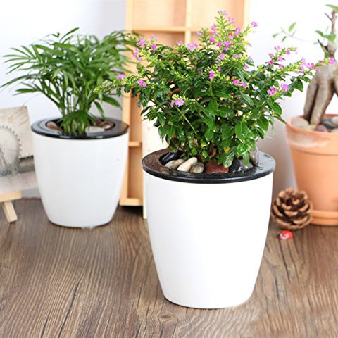 Free Gardening Help & Mkono 3 Pack Self Watering Planter White Flower Pot L