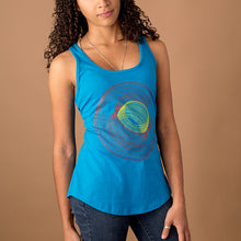 enthic young woman wearing a bright blue racer back tank top with colorado 'c' in red and yellow created with a wireframe like style