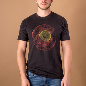 young white male wearing black t-shirt with colorado 'c' in red and yellow created in a wireframe like style